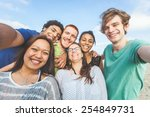 multiracial group of friends... | Shutterstock . vector #254849731