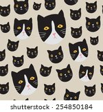 seamless cat pattern  | Shutterstock .eps vector #254850184