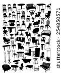 furniture silhouettes set | Shutterstock .eps vector #254850571