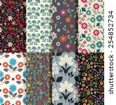 seamless patterns with floral...   Shutterstock .eps vector #254852734