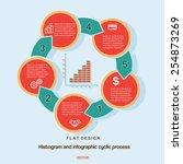 flat design  histogram and... | Shutterstock .eps vector #254873269