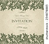 vintage card with damask... | Shutterstock .eps vector #254878885