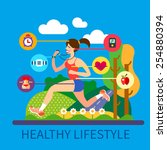 healthy lifestyle and sport ... | Shutterstock .eps vector #254880394