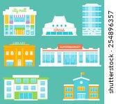 city buildings set. shopping... | Shutterstock .eps vector #254896357