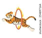 Circus Tiger Jumping Through...
