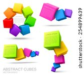 set of colorful cubes 3d. | Shutterstock .eps vector #254899639