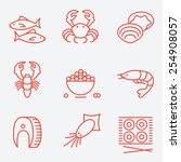 seafood icons  thin line style  ... | Shutterstock .eps vector #254908057