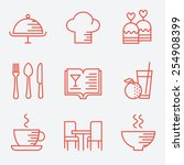 restaurant icons  thin line... | Shutterstock .eps vector #254908399