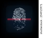 fingerprint with red scanner....   Shutterstock .eps vector #254915971