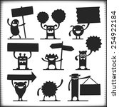 happy vector characters holding ... | Shutterstock .eps vector #254922184
