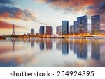 paris skyline with eiffel tower ... | Shutterstock . vector #254924395