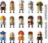set of vector cute character... | Shutterstock .eps vector #254933185