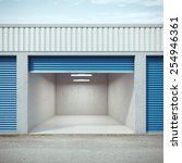 empty storage unit with opened... | Shutterstock . vector #254946361