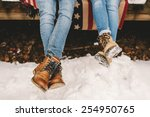 legs of two persons sitting on... | Shutterstock . vector #254950765