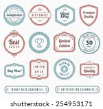 set of blue and red vintage... | Shutterstock .eps vector #254953171