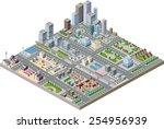 isometric city center on the... | Shutterstock . vector #254956939