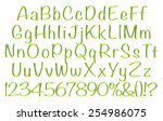 3d green alphabets big and... | Shutterstock . vector #254986075