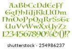 3d green alphabets big and... | Shutterstock . vector #254986237