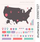 high detailed united states map ... | Shutterstock .eps vector #255007327