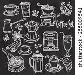 hand drawn coffee set on