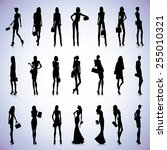set of female black silhouettes ... | Shutterstock .eps vector #255010321
