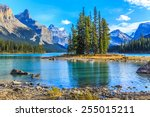 spirit island in maligne lake ... | Shutterstock . vector #255015211