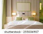 Stock photo modern bedroom in the morning 255036907