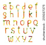alphabet created by vegetables... | Shutterstock . vector #255037375