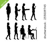 business woman silhouettes... | Shutterstock .eps vector #255039745
