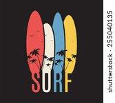 surf illustration typography.... | Shutterstock .eps vector #255040135
