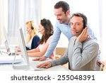 view of a manager training a... | Shutterstock . vector #255048391