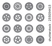 set of wheel rims with tire... | Shutterstock .eps vector #255054415