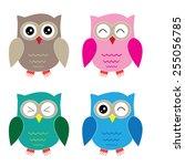 Set Of Four Cartoon Owls With...