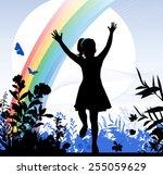 girl running. | Shutterstock .eps vector #255059629