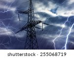 high voltage tower and...   Shutterstock . vector #255068719