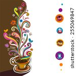 coffee theme background.  | Shutterstock .eps vector #255069847