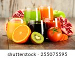 glasses with fresh organic... | Shutterstock . vector #255075595