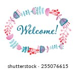welcome card. floral wreath...