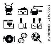 swiss food and dishes icons  ... | Shutterstock .eps vector #255077071