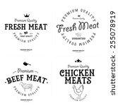 set of butcher shop labels and... | Shutterstock .eps vector #255078919