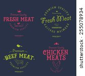 set of butcher shop labels and... | Shutterstock .eps vector #255078934