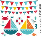 vector sea elements and... | Shutterstock .eps vector #255085207