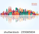 spain detailed skyline. vector... | Shutterstock .eps vector #255085834