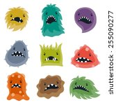 set of little angry viruses ... | Shutterstock .eps vector #255090277
