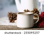 winter composition with hot... | Shutterstock . vector #255095257