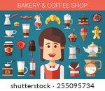 set of vector modern flat... | Shutterstock .eps vector #255095734