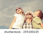 dad and son and  daughter... | Shutterstock . vector #255100135