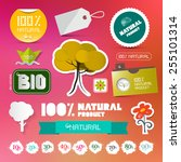 bio   100  natural labels set... | Shutterstock . vector #255101314