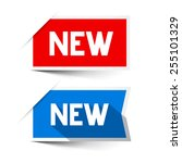 new red and blue paper labels   ... | Shutterstock . vector #255101329