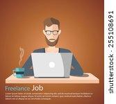 freelance job vector...   Shutterstock .eps vector #255108691